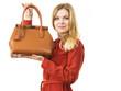 Fashion woman with leather handbag