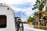 Camper car with bicycles onroadside