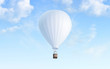Leinwandbild Motiv Blank white balloon with hot air mockup on sky background, 3d rendering. Empty airship fly in heaven mock up. Clear blimp with basket and gasbag for expedition template.