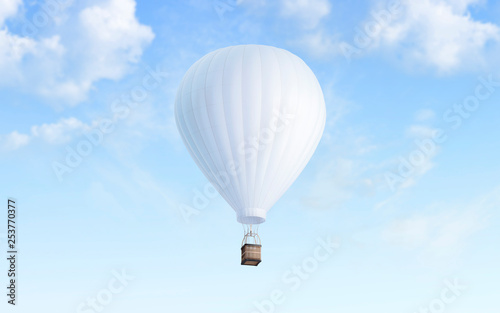 Leinwanddruck Bild Blank white balloon with hot air mockup on sky background, 3d rendering. Empty airship fly in heaven mock up. Clear blimp with basket and gasbag for expedition template.