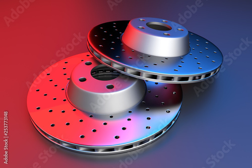 3D rendering. Auto spare parts for passenger car, new brake disk on white background. Multicolored brake disk for brake system
