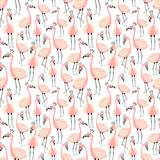 Seamless tropical pattern with cute pink flamingos in the crown. Vector summer hand-drawn illustration of a flamingo for kids, background, textiles, gifts, clothes, nursery, baby shower, birthday