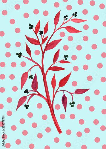 Hand drawn brunch flower summer spring illustration color background - 253778701