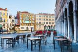 VENICE, ITALY - December 21, 2017 : Restaurants in Old Town VENICE, ITALY