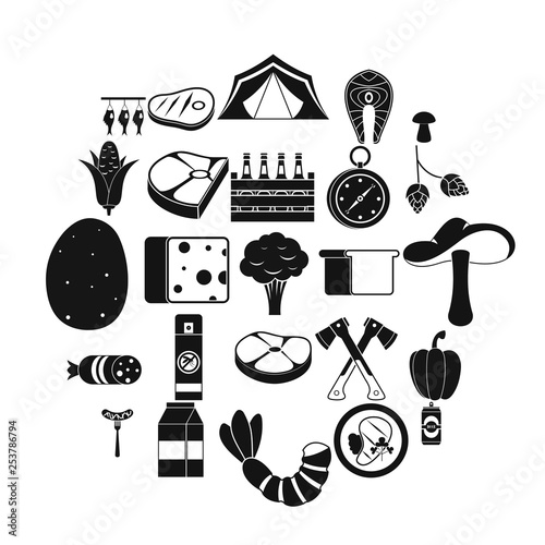 Camping trip icons set. Simple set of 25 camping trip vector icons for web isolated on white background - 253786794