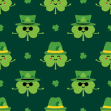 St. Patrick's Day seamless pattern background with cute shamrock, clover cartoon characters in green leprechaun hats. - 253796111