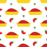 Vector seamless pattern background with tunisian hot chili pepper sauce or paste Harissa. - 253796132