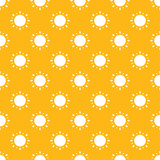 Vector yellow seamless pattern background with sun icons, symbols. - 253796145