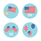 Set, collection of round shape icons, labers or stickers with USA flags. - 253796156