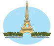 Vector image of Eiffel Tower Paris France with blue sky and white background in a retro style. EPS10