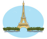 Fototapeta Wieża Eiffla - Vector image of Eiffel Tower Paris France with blue sky and white background in a retro style. EPS10 © doethion