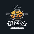retro illustration of fast food emblem with pizza
