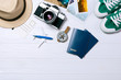 Traveler's accessories, Overhead view of essential vacation items, Travel concept background