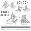 Sketchy London Tower Bridge illustration set. Famous historical british monument for travel vacation clipart, british uk sightseeing icon graphics. Drawbridge over river thames. Love London black.