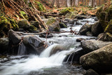 Small river on mountain swollen due to snow melt. Riverbed with big stones. End of winter and beginning of spring.