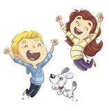 niños saltando con perro felices