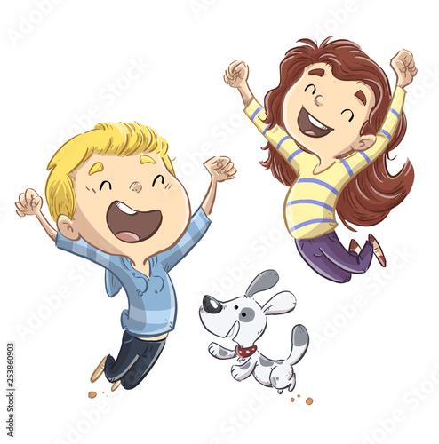 niños saltando con perro felices - 253860903