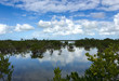 Cloudscape and reflections in the ocean with mangroves