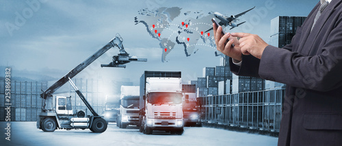 Double exposure of man with Transportation, import-export and logistics concept, there are container truck,  airplane for import export industry