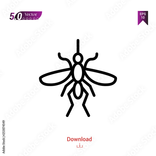 Outline mosquito  icon isolated on white background. insect icons. Graphic design, mobile application, logo, user interface. Editable stroke. EPS10 format vector illustration - 253874549