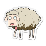sticker of a cartoon muddy sheep