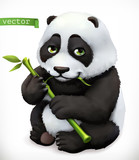 Panda bear cartoon character. Funny animal, 3d vector icon