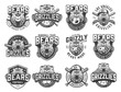 Vintage monochrome sport teams emblems set