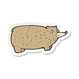 sticker of a funny cartoon bear