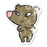 distressed sticker of a cute cartoon bear