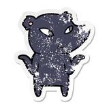 distressed sticker of a cute cartoon bear shrugging shoulders