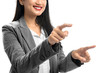 Smiling asian business woman touch something with her both finger hands