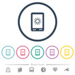 Mobile display brightness flat color icons in round outlines