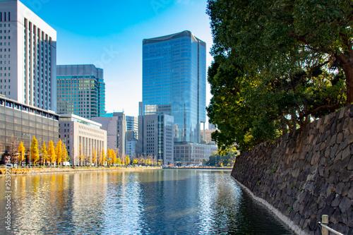 obraz PCV Tokyo skyscaper moat