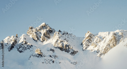 snow covered mountain panorama - 253938537