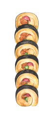 Watercolor Set of Sushi rolls isolated on white background. Japanese food. © Khaneeros