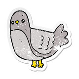 distressed sticker of a cartoon bird