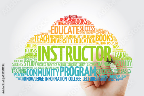 INSTRUCTOR word cloud collage with marker, education concept background