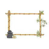 Vector sketch bamboo frame with zen pebble
