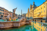 Navona Square or Piazza Navona in Rome, Italy with fountain. Rome architecture and landmark at sunrise