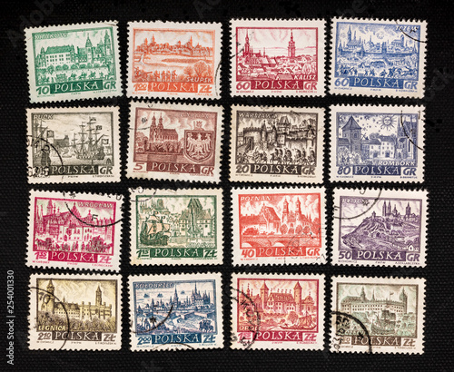 Polish cities on vintage post stamps