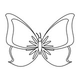 butterfly cartoon symbol isolated in black and white