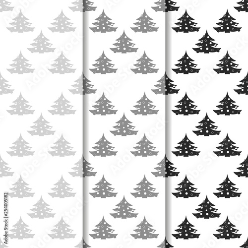 obraz lub plakat Christmas tree with toys seamless pattern
