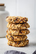 Stack of oatmeal cookies with dates. Healthy dessert concept.