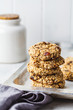 Leinwanddruck Bild - Stack of oatmeal cookies with dates. Healthy dessert concept.