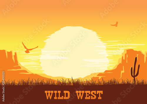 Western American desert nature background. Vector  prairie landscape with cactuses and space for text - 254010525