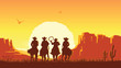 Cowboys riding horses at sunset. Vector prairie landscape with sun