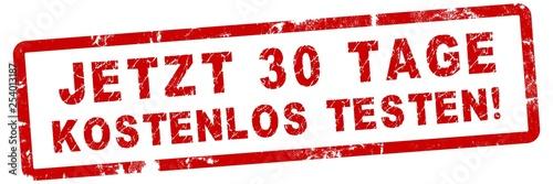 Leinwanddruck Bild nlsb18 NewLongStampBanner nlsb - german text: jetzt 30 Tage kostenlos testen! - Stempel / Einfach / rot / Vorlage - Seitenverhältnis 3:1 - 3zu1 xxl g7305