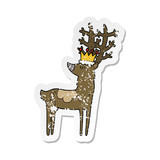 retro distressed sticker of a cartoon stag king