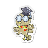 retro distressed sticker of a cute cartoon well educated bird