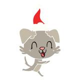 laughing flat color illustration of a dog wearing santa hat